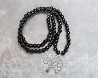 Short necklace, hematite, black, silver, pendant tree of life 925 Silver
