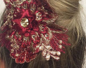 Burgundy and gold hair clip