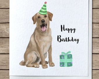 Golden Labrador Birthday Card - Customizable/Personalised Options Avaliable