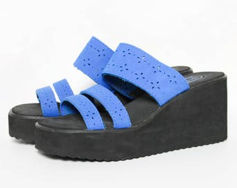 90s Esprit Foam Wedge Sandals Platform Sandals Slip On Spice Girls Shoes Hipster Grunge Hippie Boho Club Kid Raver Floral Shoes Size 8.5 - 9
