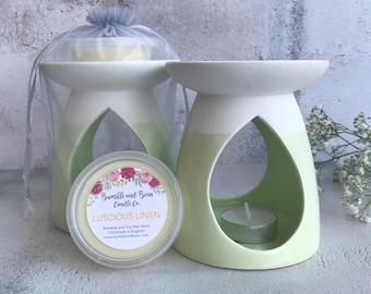 Wax Melt Gift Set | Green and White Wax Warmer and Large Wax Melt Pot Gift Set