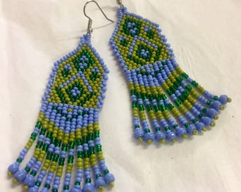 Periwinkle and Green bead earrings