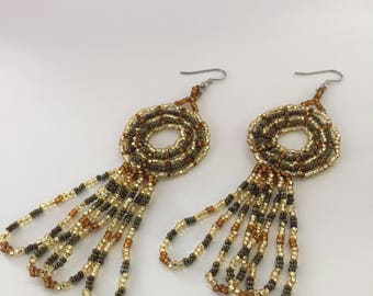 Gold Circle Earrings with Loops