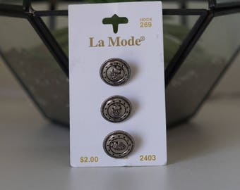 La Mode Silver Metal Shank buttons
