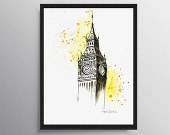 Big Ben, Big Ben Wall art, Travel Illustration, London Print, London Poster, Watercolor print, Gift ideas, City print, Watercolor Painting,