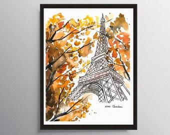 Paris Poster, Eiffel Tower, Paris Print, City art print, Illustration, Travel art, Architecture art, Art Print, Poster print, Art decor