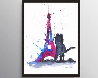 Eiffel Tower, Love in Paris, Paris Print, Engagement gift, Illustration art, Travel art, Architecture art, City art, Art Poster, Art Print