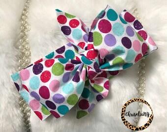 Colorful Polka Dot Headwrap ; baby Head Wrap ; fabric head wrap; newborn headwrap, toddler headwrap, baby girl headwrap; turban wrap