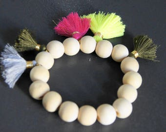 NEW! CREATING BRACELET BEADS WOOD AND POMPOMS HIPPIE CHIC ADJUSTABLE ELASTIC