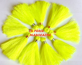 CREATION! 10 TASSELS COLOR IS NEON YELLOW POLYESTER + - 4CM TASSEL ACRYL