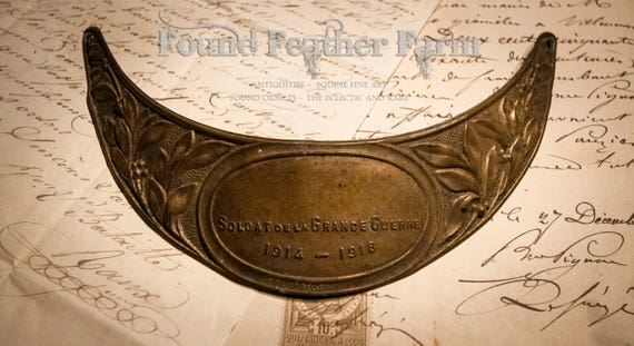 Brass Repousse French WWI Antique Veterans 1914 Visor Plate