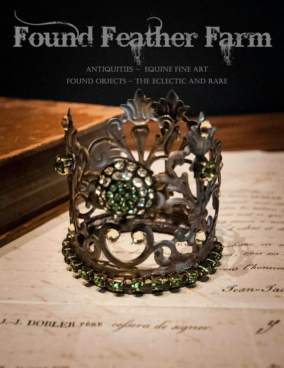 Precious Little Handmade Embellished Tin Crown with Vintage Green Jewels