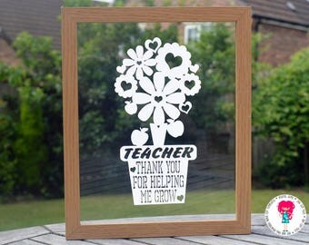 Teacher, thank you for helping me grow SVG / DXF / EPS files and a printable template for hand cutting. Digital download. Commercial use ok