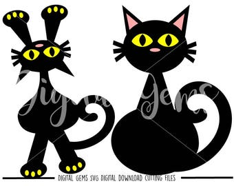 Black Cat svg / dxf / eps / png files. Digital download. Compatible with Cricut and Silhouette machines. Small commercial use ok.