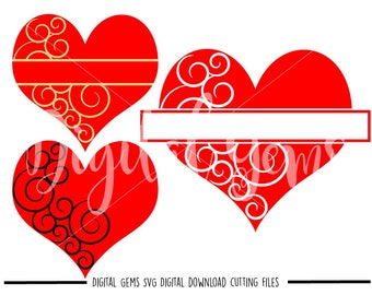 Heart, Valentines svg / dxf / eps / png files. Digital download. Compatible with Cricut and Silhouette machines. Small commercial use ok.