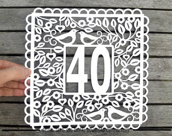 Number 40 paper cut svg / dxf / eps / files and pdf / png printable templates for hand cutting. Digital download. Small commercial use ok.