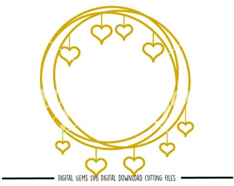 Heart frame svg / dxf / eps / png files. Digital download. Compatible with Cricut and Silhouette machines. Small commercial use ok.