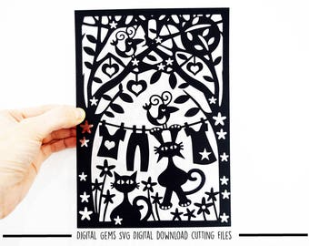 Cats in the garden paper cut svg / dxf / eps / files and pdf / png printable templates for hand cutting. Digital download. Commercial use ok