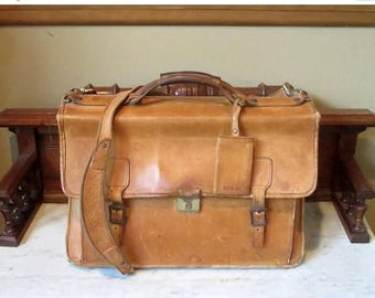 Back To School Sale Hartmann Belting Leather Flap Over Briefcase Attache Made In USA- Mildly Distressed Condition