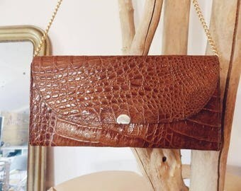 Leather clutch camel / handbag / Vintage
