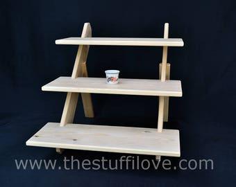 3 Tier Deep Standard Portable Riser Craft fair Display Shelving Stand.