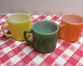 Vintage Federal Yellow, Olive Green And Orange Milk Glass  Mug Cups Heat Proof D Handle