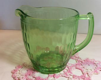 """Jeannette Glass Hex Optic Honeycomb Pitcher 36 oz.  with Sunflower Pattern On the Bottom 1928- 1932  5"""""""