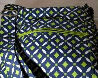 Crossbody 2 Zip Hipster Shoulder Bag Blue, Green, and White Handbag - Shoulder Bag