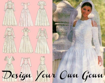 """Princess Wedding Dress Off The Shoulder Gown Pattern SIMPLICITY 8888 bust 38-42"""" Wedding Ball Gown Long Sleeve Wedding Gown Pattern"""
