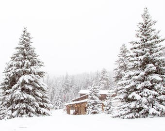 Snowy Winter Landscape, Log Cabin Photograph, Winter Art Print, Country Home Decor, Snow Photograph, Western Art, Mountain Photograph