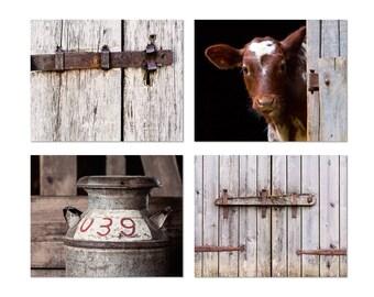 Country Decor, Farm Photography, Rustic Wall Art, Cow Photograph, Milk Can Photo, Farmhouse Wall Decor, Barn Prints, Set of 4, Rural Prints