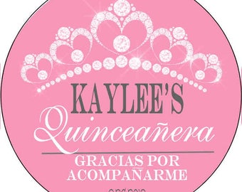 12 Printed & Mailed  Party Stickers 2.5 inch Round Personalized 15th Birthday Spanish quincenera