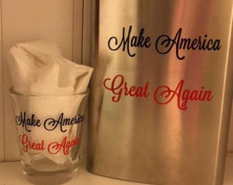 Make America Great Again Shot Glass And Flask Combo