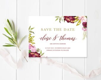 Elegant Marsala Red and Gold Floral Wedding Save the Date - Calligraphy - Commercially Printed - Peach Perfect Australia