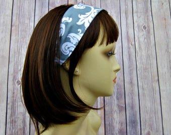 Reversible Headband - Headband for Women - Adult Headband - Womens Headband - Handmade Fabric Headband - Gray Flourish and Triangles
