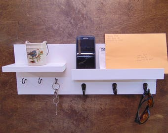floating shelf display shelf coat hooks mail holder key hook entry