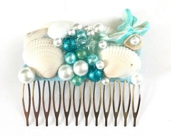 Hair comb, beach wedding, bridal comb, wedding hair accessory, beach, hair accessories, mermaid, mermaid hair comb, women hair comb, gift