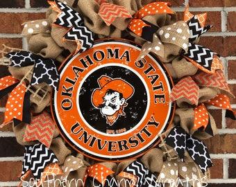 Burlap Oklahoma State University Wreath