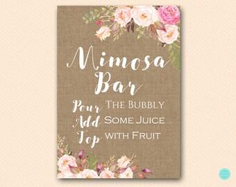 boho burlap Mimosa Bar Sign, Mimosa Bar Printable, Bubbly Bar Sign, Mimosa Sign, Mimosa Bar, Bridal Shower Decoration Signs BS546 TLc546