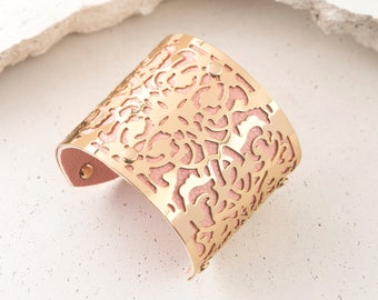 Intricate Lace 14K Gold Plated Cutout Art Deco Vintage Inspired Cuff Bracelet with Pink Faux Leather
