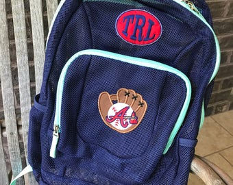 Mesh Backpack | MLB Team | Braves | Boys Backpack | Football Backpack | Embroidered Mesh Backpack | Personalized Baseball | Atlanta Braves