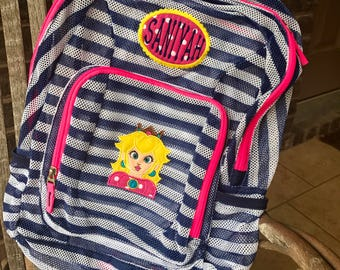 Monogrammed Backpack | Mesh Backpack | Mario  Backpack | Girls Backpack | Princess Peach Backpack | Luigi Backpack | Backpacks | Princess