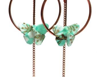 Boucles d'oreilles pendantes en origami papillon, papier japonais bleu vert à motifs floraux OR ROSE