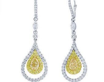 Stunning Fancy Yellow Pear Diamond 9.01 TCW 18K White Gold GIA Certified Dangle Earring