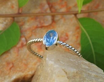 ON SALE Natural London Blue Topaz Silver Twisted Band Handmade Ring - 925 Sterling Silver