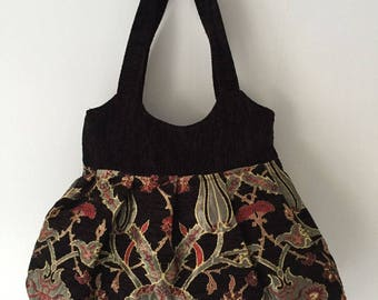 Elegant 90's Handmade Velvet / Fabric  Handbag/Shoulder Bag