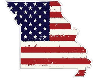 Missouri State (J26) USA Flag Distressed Vinyl Decal Sticker Car/Truck Laptop/Netbook Window