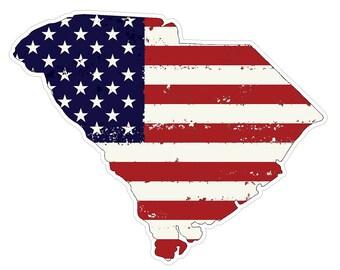 South Carolina State (J41) USA Flag Distressed Vinyl Decal Sticker Car/Truck Laptop/Netbook Window