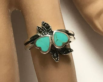 Sterling Silver Turquoise Hearts Marcasite Ring - Size 7.5