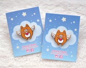 Cute Lovely Valentines Angel Shiba Inu Bub Heart Hard Enamel Pin (gold)